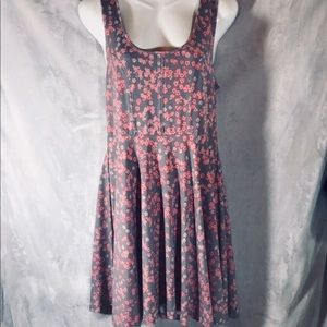 Free People Gray with Pink Flowers Dress